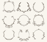 Vector set of border circle frame - vintage style - 172146933