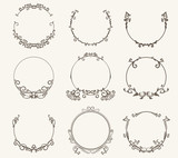 Vector set of border circle frame - vintage style - 172146978