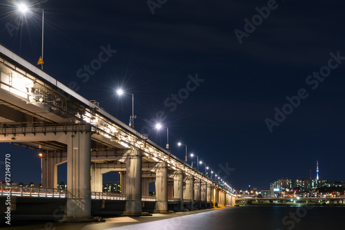 Nightview of Banpo Bridge (盤浦大橋夜景) in Seoul, Korea. Poster