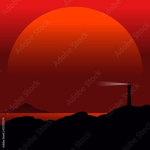 Fotobehang Bruin seascape with lighthouse, minimal vector background