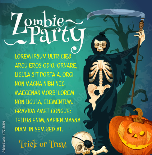 Halloween zombie party poster with skeleton