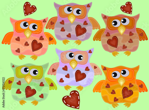 Foto op Plexiglas Uilen cartoon A set of six cool owls with drunken flickering eyes in different directions, hearts on the chest with imitation of sewing, lines, patches.