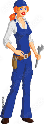 Vector illustration of a smiling blonde female mechanic with wrench, white background.
