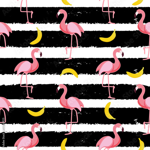 Cotton fabric Cute Seamless Flamingo Pattern Vector Illustration