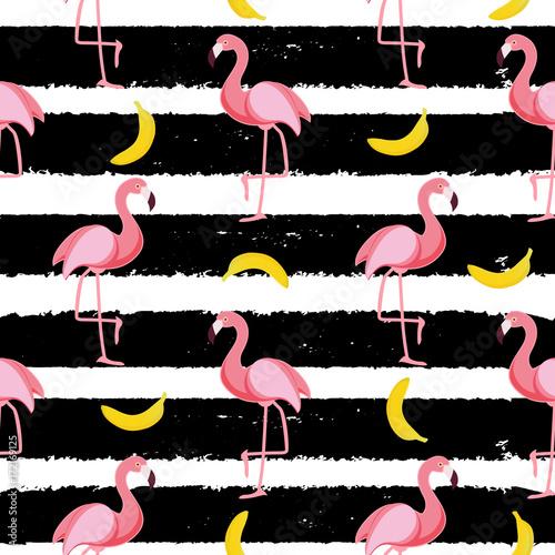Cotton fabric Cute Seamless Flamingo Pattern Vector Illustration