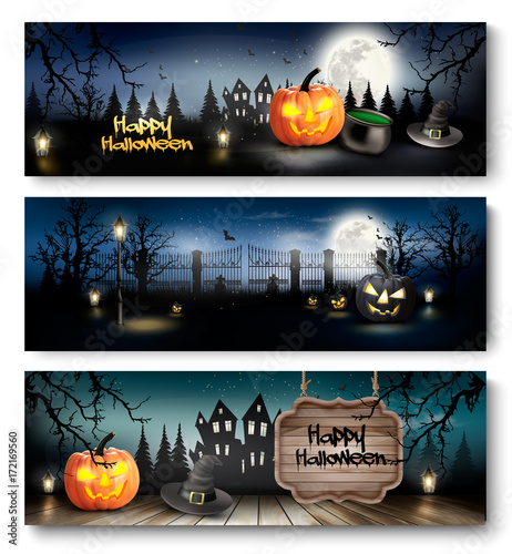 Group of Halloween banners with pumpkins and moon. Vector. - 172169560