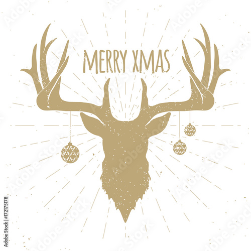 Fotobehang Hipster Hert golden christmas deer silhouette on white