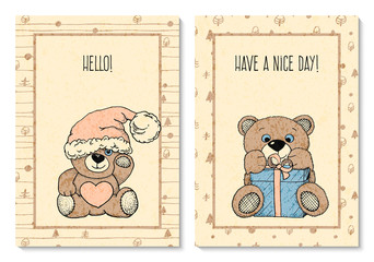vector set with two greeting cards with hand drawn pretty toy bears. design for covers, cards, presents