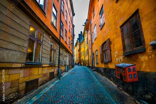 Fotobehang Smalle straatjes enge Gasse Stockholm