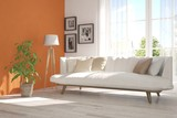 Idea of white room with sofa and summer landscape in window. Scandinavian interior design. 3D illustration - 172189772