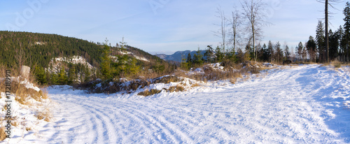 Winter landscape in the hills - 172189911