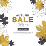 Autumn sale banner with 3d style gold and outline maple autumn leaves. Vector fall poster golden background. Layout for discount labels, flyers and shopping. - 172195947