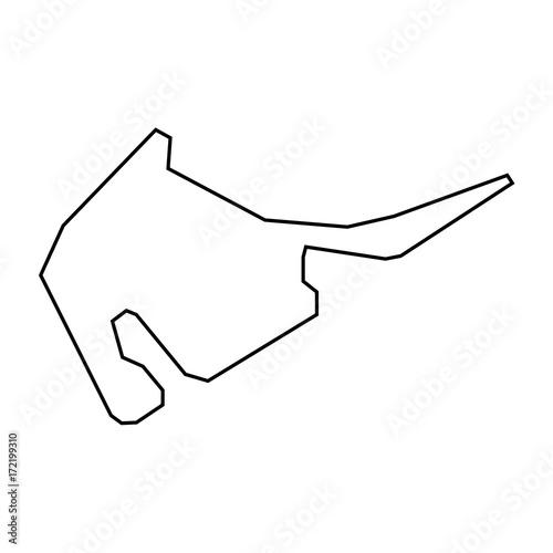 Foto op Plexiglas F1 Hockenheimring - Deutschland - Streckenverlauf - Icon, Symbol, Piktogramm, grafisches Element - Fläche - schwarz - Vektor