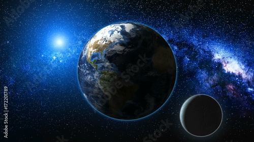 Sunrise view from space on Planet Earth and Moon. Milky way with thousand stars in the background. High detailed 3D animation. Elements of this image furnished by NASA. Astronomy and science