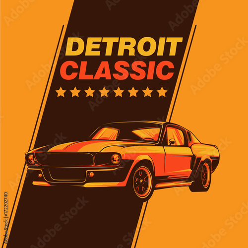 Fotobehang Vintage Poster Muscle car vector illustration