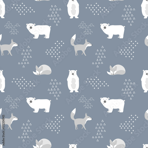 Scandinavian seamless pattern. Bear and fox. Vector illustration. - 172204943