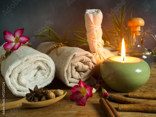 Spa massage items in candlelight. © pada smith