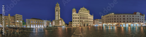 Foto op Aluminium Panoramafoto s Augsburg Rathausplatz Panorama