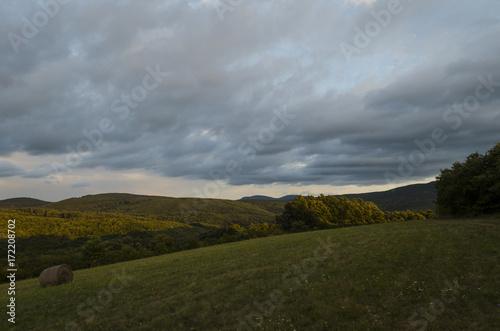 Keuken foto achterwand Donkergrijs sunset landscape in nature, august
