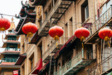 chinese lanterns and fire escape stairs at background - 172214994