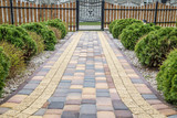 Paving cube in garden at house