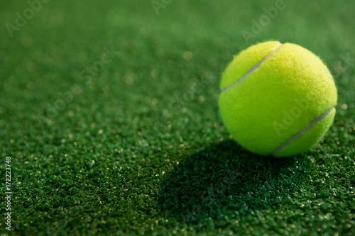 Papiers peints Herbe Close up of fluorescent yellow tennis ball on grass