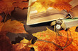Autumn background. Old books with clocks near maple leaves
