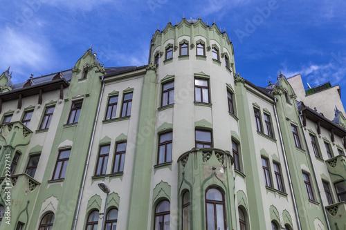 Fassade eines traditionellen Wohngebäudes in Bratislava,Slowakei Poster