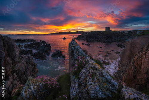 Foto op Canvas Zee zonsondergang Landscape of County Donegal in Ireland at the morning with the castle
