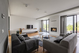 Luxurious living room with fireplace - 172238591