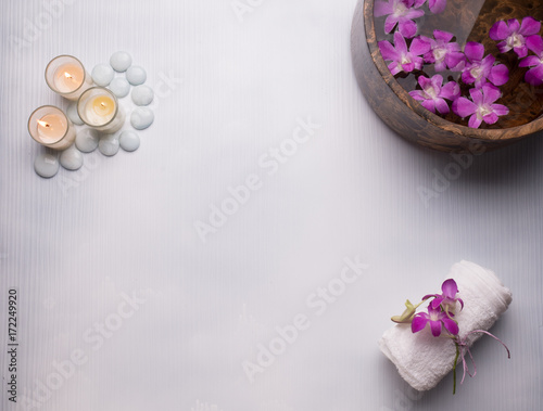 Spa still life concept,Close up of spa theme on white wood