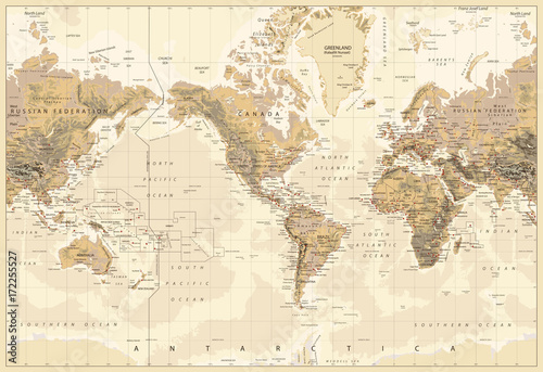 Vintage Physical World Map-America Centered-Colors of Brown - 172255527