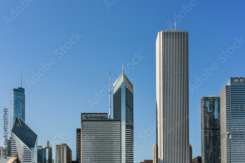 Poster Chicago Cityscape with skyscrapers such as Prudential in Chicago, USA