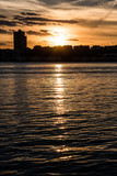 New Jersey skyline at sunset of West New York district from riverside park - 172257750