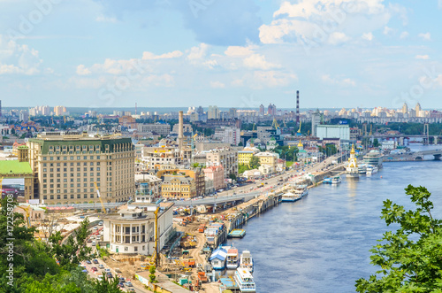 Deurstickers Kiev Aerial view of Kiev, Ukraine and Dnieper river with construction of buildings
