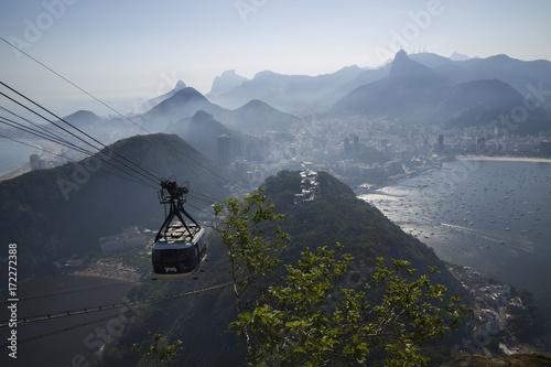 Fotobehang Rio de Janeiro Cable car in Sugar Loaf in Rio de Janeiro Brazil