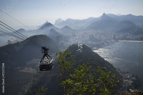 Deurstickers Rio de Janeiro Cable car in Sugar Loaf in Rio de Janeiro Brazil