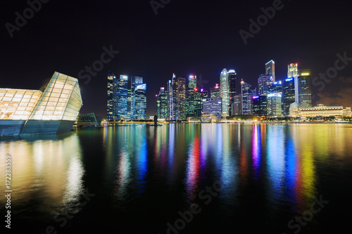 central business district building of Singapore city at night Poster