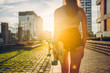 Skateboarder girl sunrise lifestyle. Longboard - 172289159