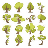 Green trees flat vector icons eco nature symbols of tree leaf
