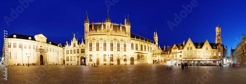 Foto op Plexiglas Panoramafoto s Bruges - Burg square at night, Panorama, Belgium skyline
