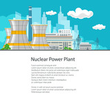 Thermal Power Station on the Background of the City and Text, Electric Transmission from a Nuclear Power Plant, Poster Brochure Flyer Design, Vector Illustration - 172319192