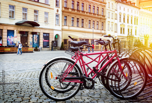 Poster Bicycle parking in a European city. A healthy lifestyle.