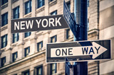 New York written on a roadsign, in New York City, USA - 172324730