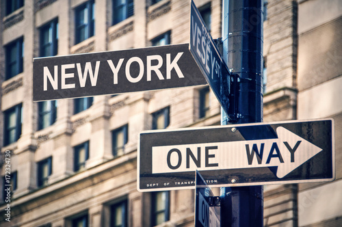 New York written on a roadsign, in New York City, USA Poster