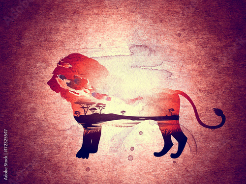 Keuken foto achterwand Crimson African Sunset with Lion Grunge