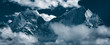 "Panoramic view of mountain peaks Kangtega, also known as ""The Snow Saddle"" (6,782 m.) and Thamserku (6,608 m.). Himalayas, Khumbu, Eastern Nepal"