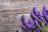 Lavender flowers, bouquet on wooden background, overhead - 172339753