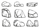 stones set vector. hand drawings isolated - 172344905