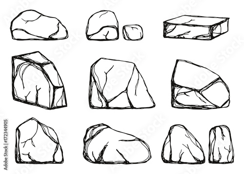 stones set vector. hand drawings isolated